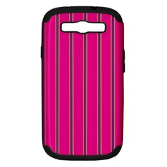 Pink Line Vertical Purple Yellow Fushia Samsung Galaxy S Iii Hardshell Case (pc+silicone)