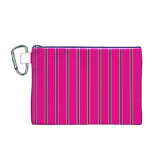 Pink Line Vertical Purple Yellow Fushia Canvas Cosmetic Bag (m)