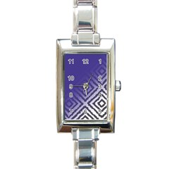 Plaid Blue White Rectangle Italian Charm Watch