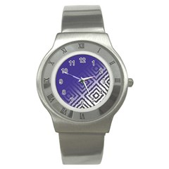 Plaid Blue White Stainless Steel Watch