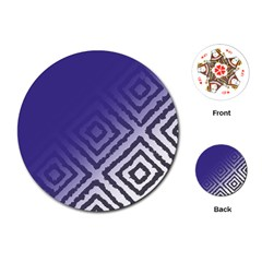 Plaid Blue White Playing Cards (round)