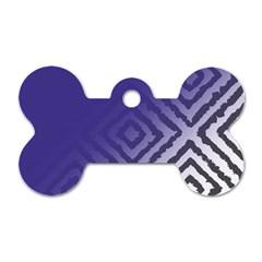 Plaid Blue White Dog Tag Bone (one Side)