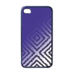 Plaid Blue White Apple Iphone 4 Case (black)