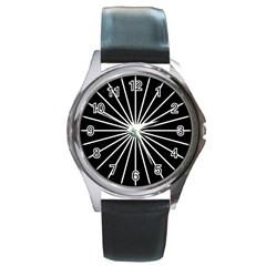 Ray White Black Line Space Round Metal Watch