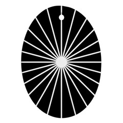 Ray White Black Line Space Ornament (oval)