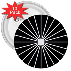 Ray White Black Line Space 3  Buttons (10 Pack)