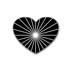 Ray White Black Line Space Heart Coaster (4 Pack)