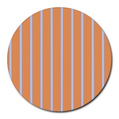Rayures Bleu Orange Round Mousepads