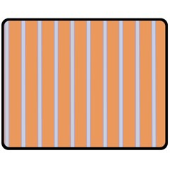 Rayures Bleu Orange Fleece Blanket (medium)