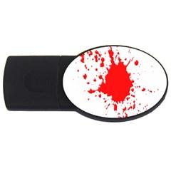 Red Blood Splatter Usb Flash Drive Oval (4 Gb)
