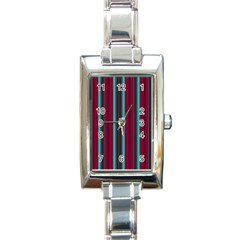 Red Blue Line Vertical Rectangle Italian Charm Watch