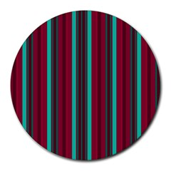 Red Blue Line Vertical Round Mousepads