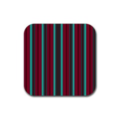 Red Blue Line Vertical Rubber Square Coaster (4 Pack)