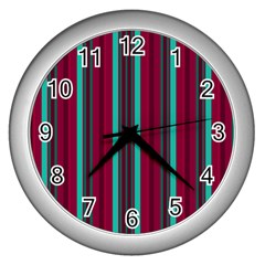 Red Blue Line Vertical Wall Clocks (silver)