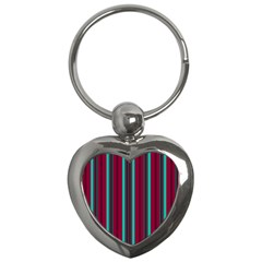 Red Blue Line Vertical Key Chains (heart)