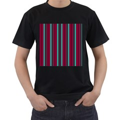 Red Blue Line Vertical Men s T Shirt (black) (two Sided)