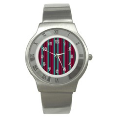 Red Blue Line Vertical Stainless Steel Watch