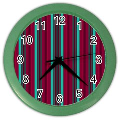 Red Blue Line Vertical Color Wall Clocks