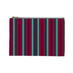 Red Blue Line Vertical Cosmetic Bag (large)