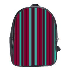 Red Blue Line Vertical School Bag (large)