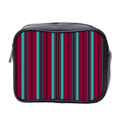 Red Blue Line Vertical Mini Toiletries Bag 2 Side