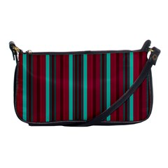 Red Blue Line Vertical Shoulder Clutch Bags