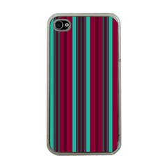 Red Blue Line Vertical Apple Iphone 4 Case (clear)