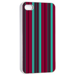 Red Blue Line Vertical Apple Iphone 4/4s Seamless Case (white)