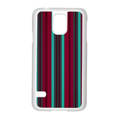 Red Blue Line Vertical Samsung Galaxy S5 Case (white)