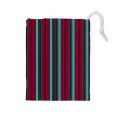 Red Blue Line Vertical Drawstring Pouches (large)