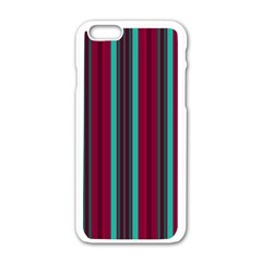 Red Blue Line Vertical Apple Iphone 6/6s White Enamel Case