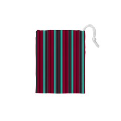 Red Blue Line Vertical Drawstring Pouches (xs)