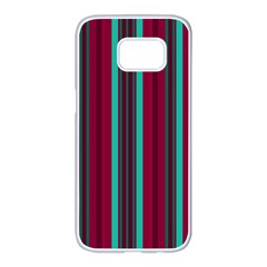 Red Blue Line Vertical Samsung Galaxy S7 Edge White Seamless Case