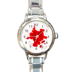 Red Blood Transparent Round Italian Charm Watch