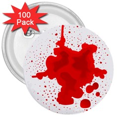 Red Blood Transparent 3  Buttons (100 Pack)