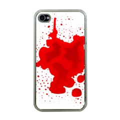 Red Blood Transparent Apple Iphone 4 Case (clear)