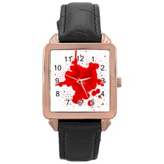 Red Blood Transparent Rose Gold Leather Watch
