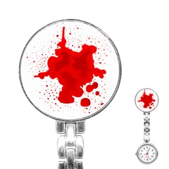 Red Blood Transparent Stainless Steel Nurses Watch