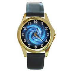 Hole Space Galaxy Star Planet Round Gold Metal Watch