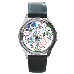 Prismatic Psychedelic Floral Heart Background Round Metal Watch