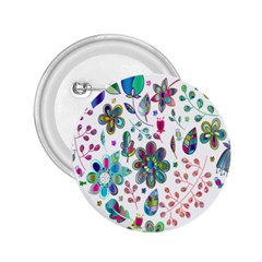 Prismatic Psychedelic Floral Heart Background 2 25  Buttons