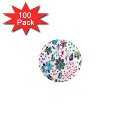 Prismatic Psychedelic Floral Heart Background 1  Mini Magnets (100 Pack)