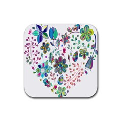 Prismatic Psychedelic Floral Heart Background Rubber Coaster (square)