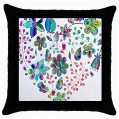 Prismatic Psychedelic Floral Heart Background Throw Pillow Case (black)