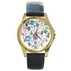 Prismatic Psychedelic Floral Heart Background Round Gold Metal Watch