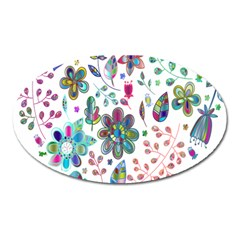 Prismatic Psychedelic Floral Heart Background Oval Magnet