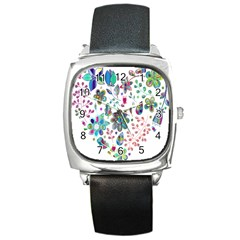 Prismatic Psychedelic Floral Heart Background Square Metal Watch