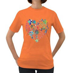 Prismatic Psychedelic Floral Heart Background Women s Dark T Shirt