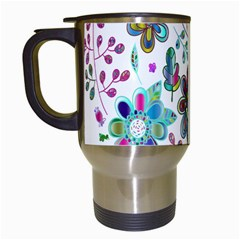 Prismatic Psychedelic Floral Heart Background Travel Mugs (white)