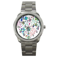 Prismatic Psychedelic Floral Heart Background Sport Metal Watch